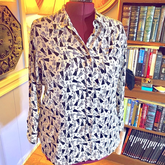 Vintage unique 90's dress shirt woman print